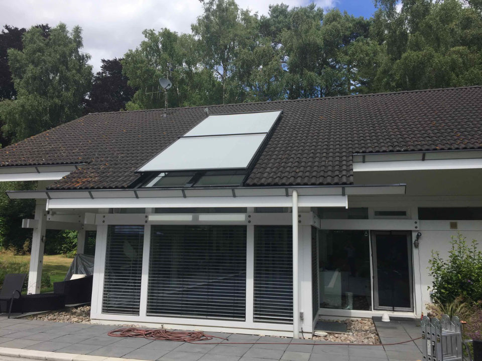 Warema W20 external conservatory roof blind with WMS Eco Weather Station Hampshire Huf Haus